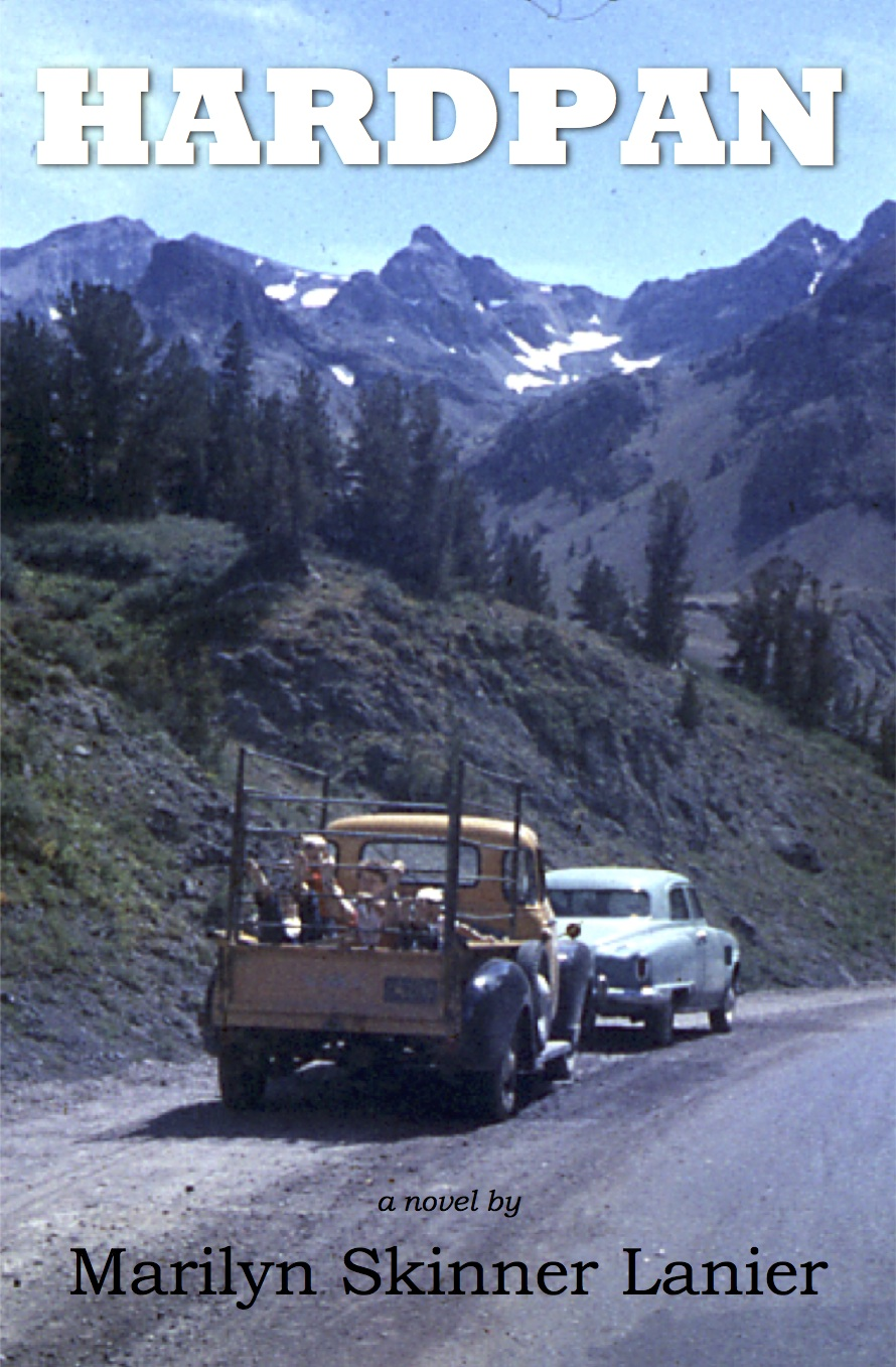 An early version of the book cover for Hardpan. Photo of our family's pickup used in move from Wyoming to Central California in 1957.